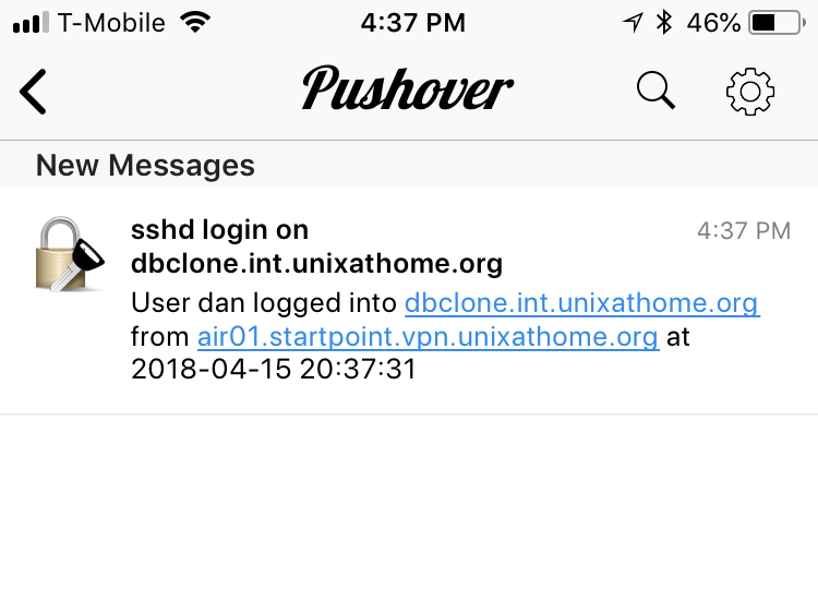 Pushover.net application on iPhone