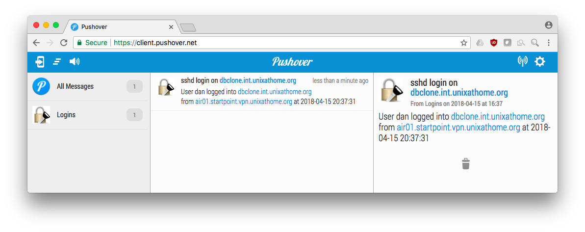 Pushover.net Web client