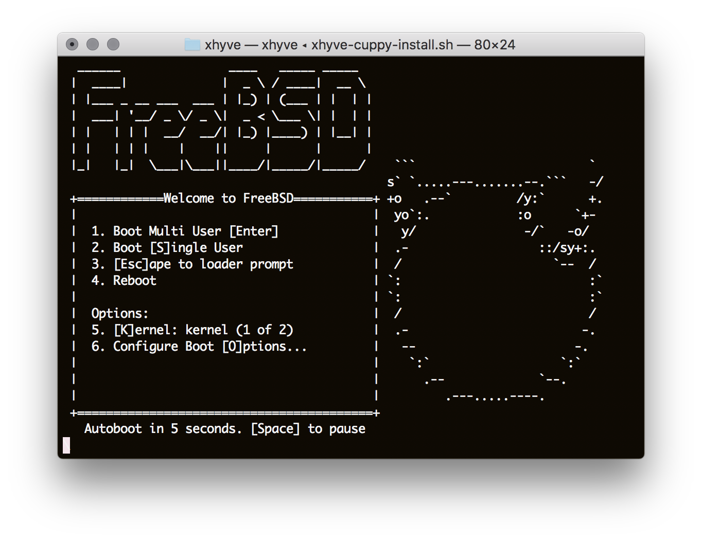 Running FreeBSD on OSX using xhyve, a port of bhyve