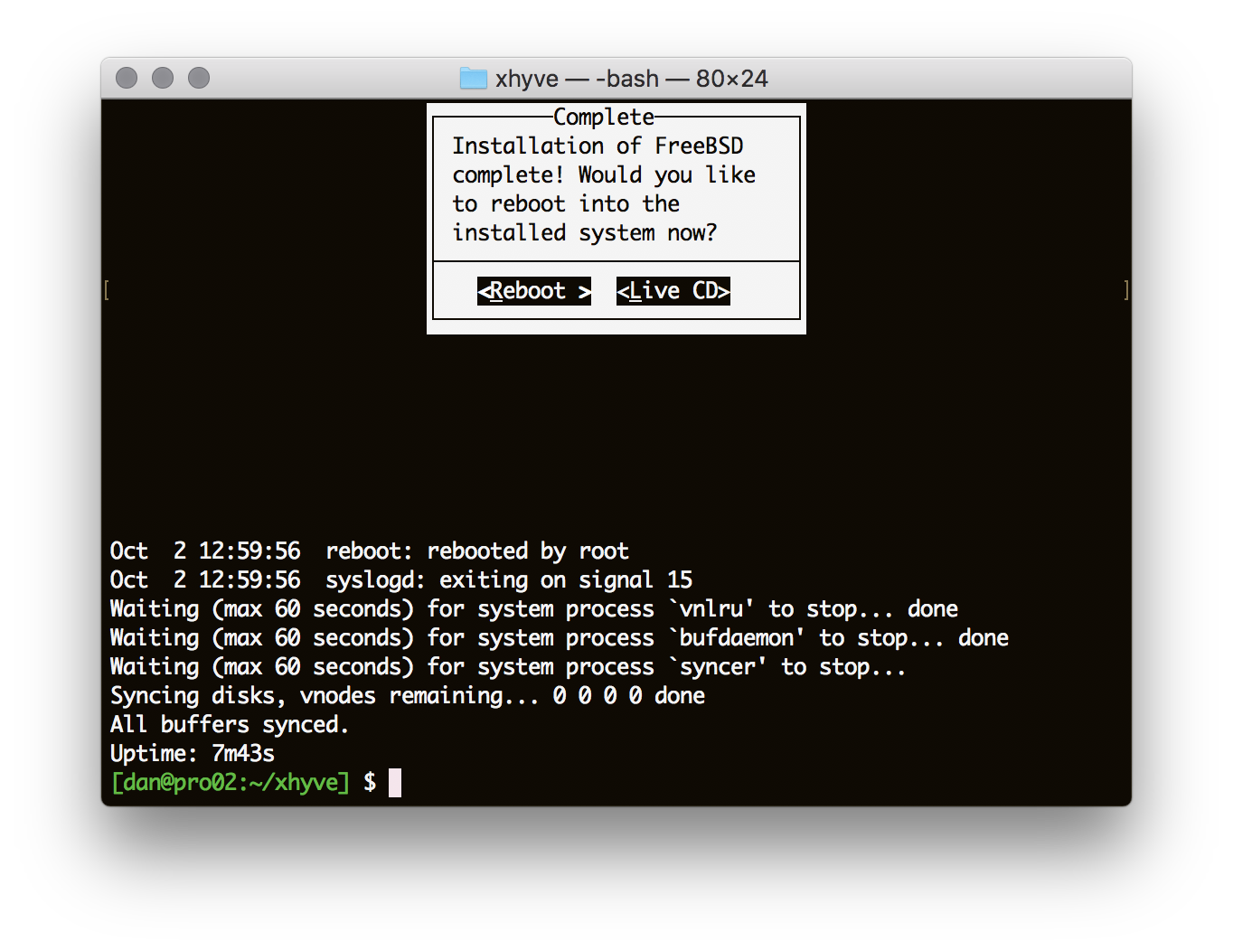 Running FreeBSD on OSX using xhyve, a port of bhyve – Dan Langille's