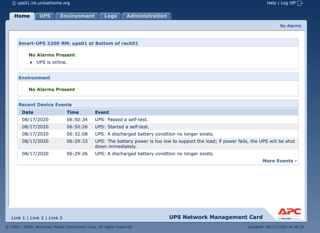 APC UPS web interface showing UPS: Passed a self-test.