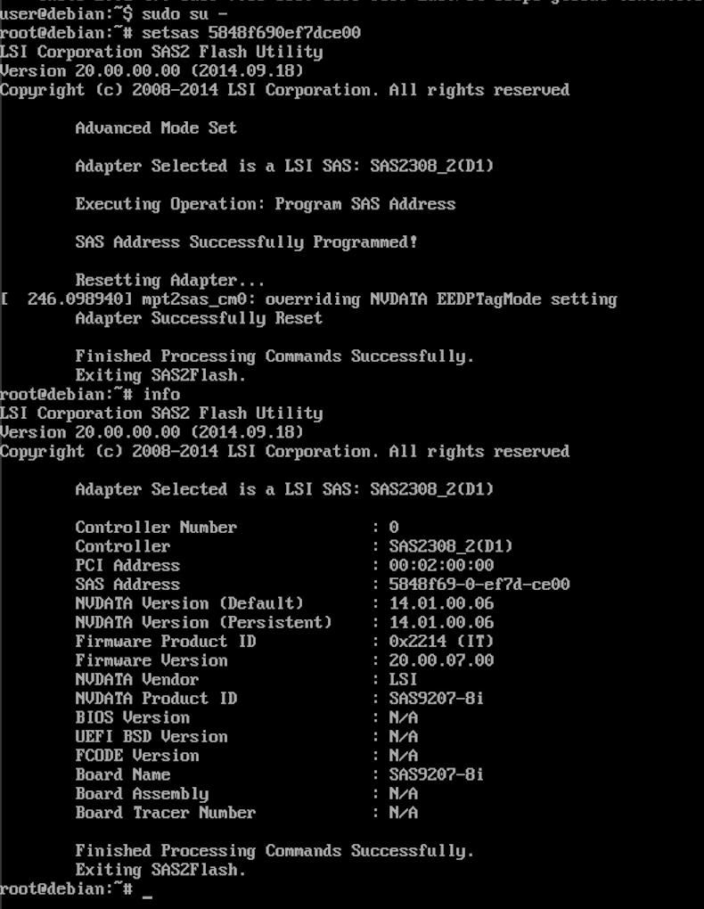 Debian set the SAS address