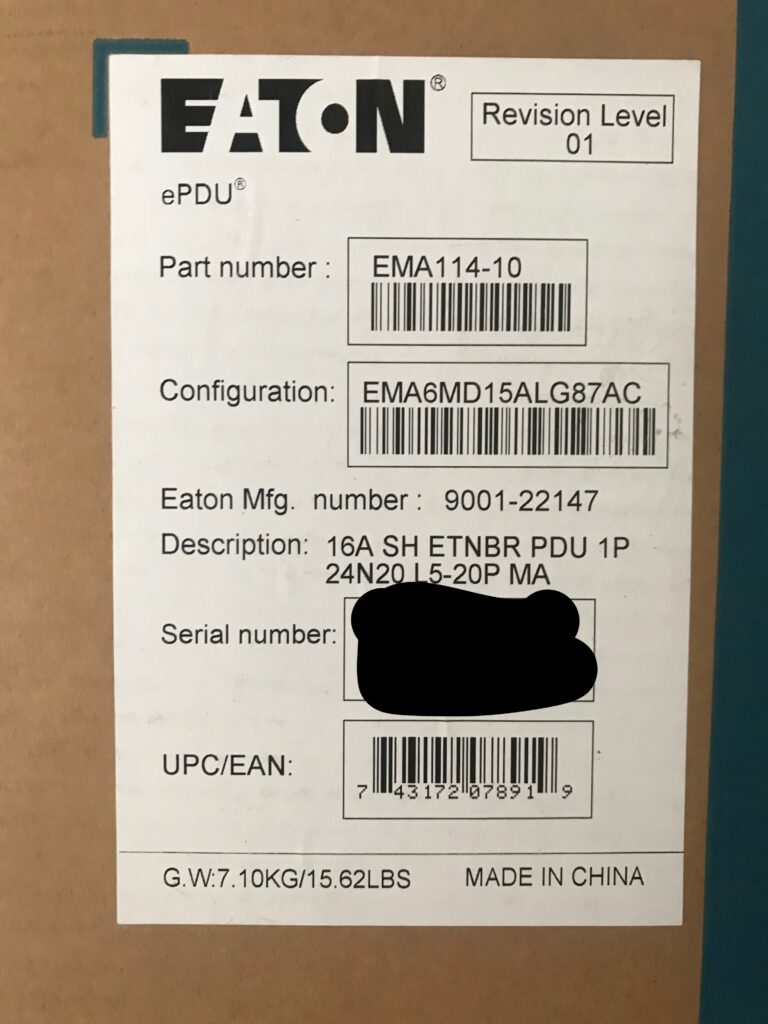 Eaton EMA114-10 label